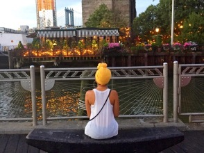 Admiring the bridge and River Café decor